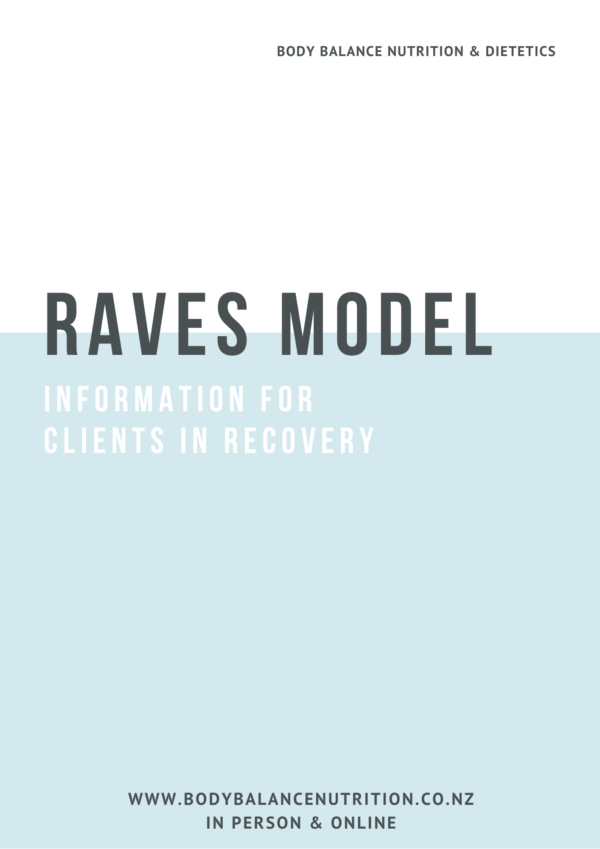 Front cover of 8 page PDF guide explaining RAVES in Nutrition Rehabilitation and Eating Disorder Recovery